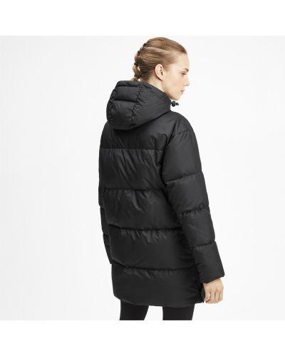 Пуховая черная длинная куртка с капюшоном Puma