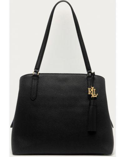 Czarna torebka duża skórzana Lauren Ralph Lauren