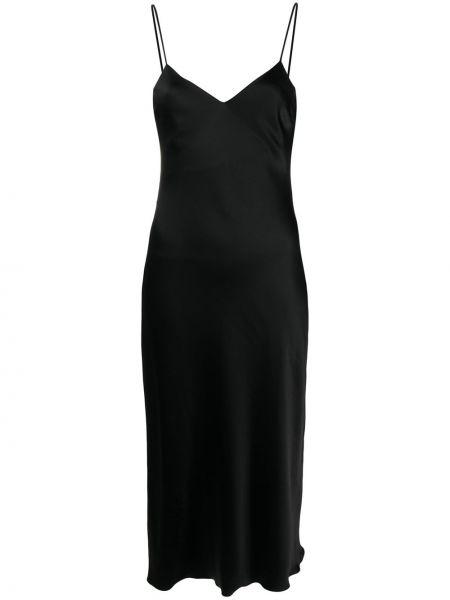 Черное тонкое платье на бретелях с V-образным вырезом Patrizia Pepe