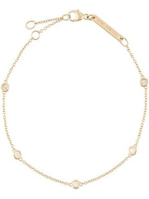 Тонкий желтый золотой браслет круглый с бриллиантом Zoë Chicco