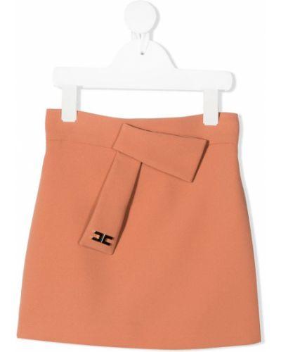 Оранжевая юбка мини с драпировкой из вискозы Elisabetta Franchi La Mia Bambina