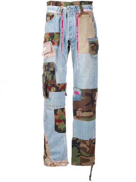 Niebieskie jeansy z wysokim stanem bawełniane Gcds