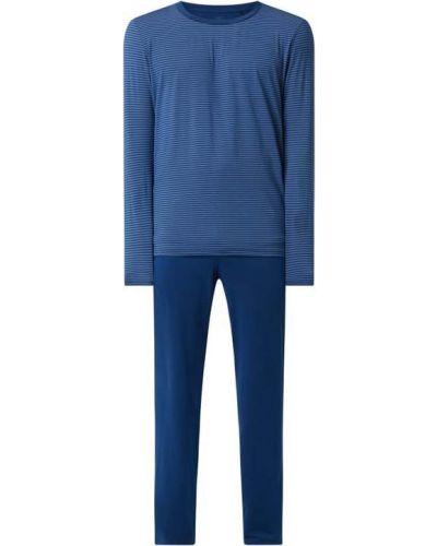 Niebieska spodni piżama z długimi rękawami w paski Schiesser