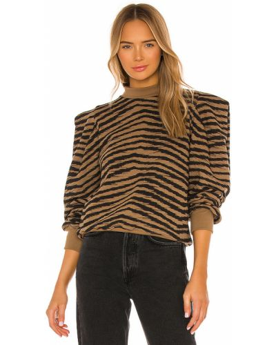 Brązowy z rękawami bawełna bawełna bluza Agolde
