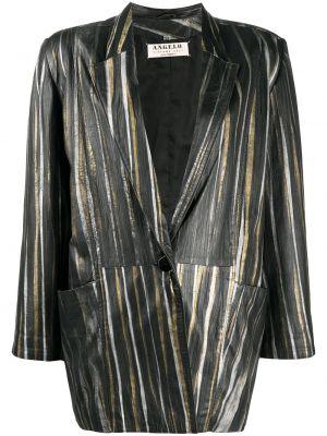 Черный кожаный удлиненный пиджак в полоску A.n.g.e.l.o. Vintage Cult