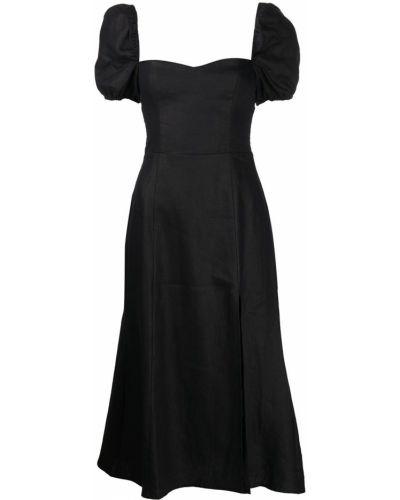 Льняное платье миди - черное Reformation