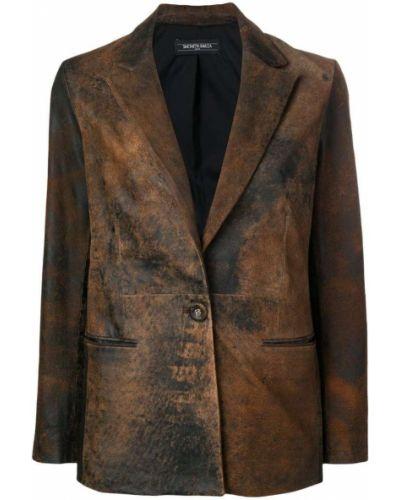 Коричневый классический пиджак с карманами на пуговицах Simonetta Ravizza