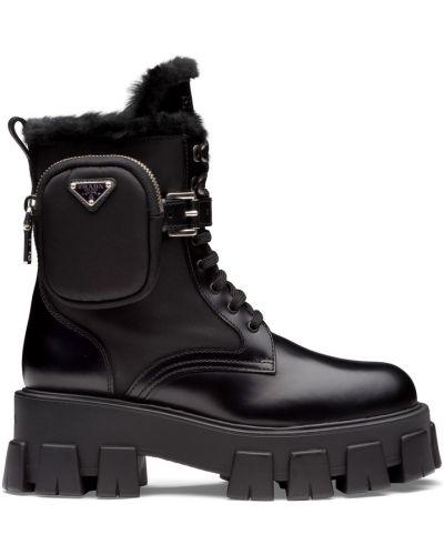 Черные кожаные ботинки Prada