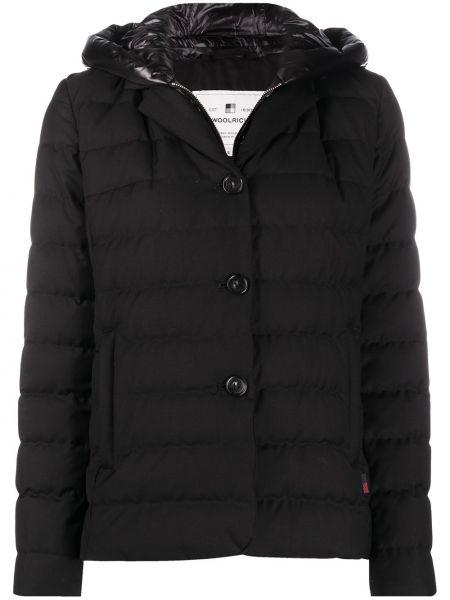Классическая черная стеганая куртка на пуговицах с перьями Woolrich