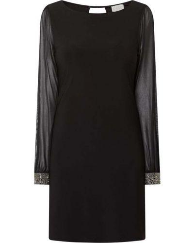 Czarna sukienka z długimi rękawami z szyfonu Apricot