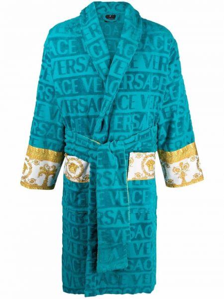 Домашний халат длинный - синий Versace