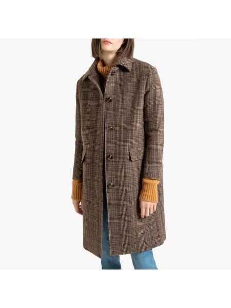 Длинное пальто в клетку с принтом La Redoute