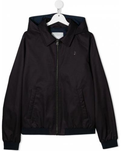 Ватная черная длинная куртка с капюшоном Herno Kids