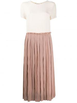 Шелковая розовая юбка миди с разрезом в рубчик Semicouture