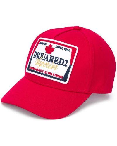 Хлопковая красная кепка с нашивками Dsquared2 Kids