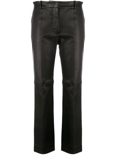 Черные кожаные брюки с карманами Joseph