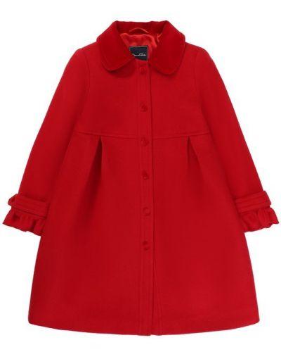 Пальто однобортное с отложным воротником Oscar De La Renta