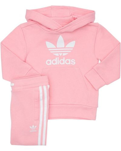 Bawełna różowy spodnie z kapturem z paskami Adidas Originals