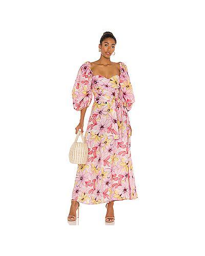 Хлопковое розовое платье миди с декольте Sundress