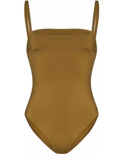 Пляжный желтый купальник с шортами с вырезом Asceno