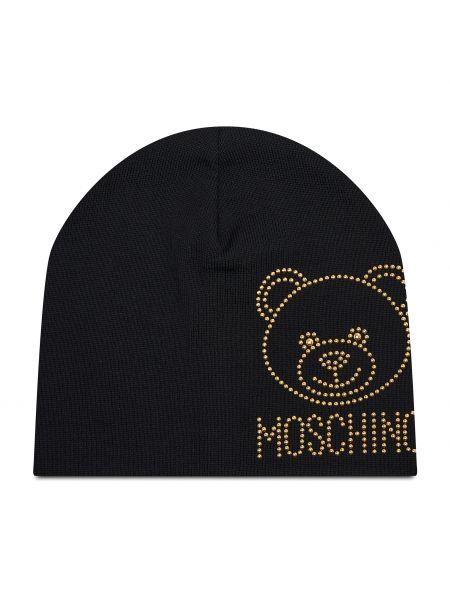 Czarna czapka Moschino