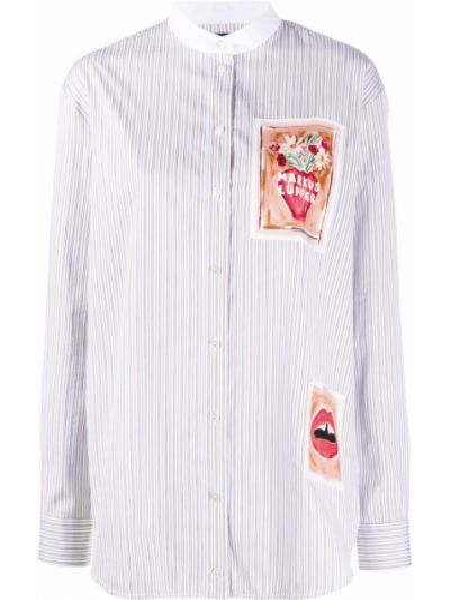 Белая рубашка с воротником на пуговицах с нашивками Markus Lupfer