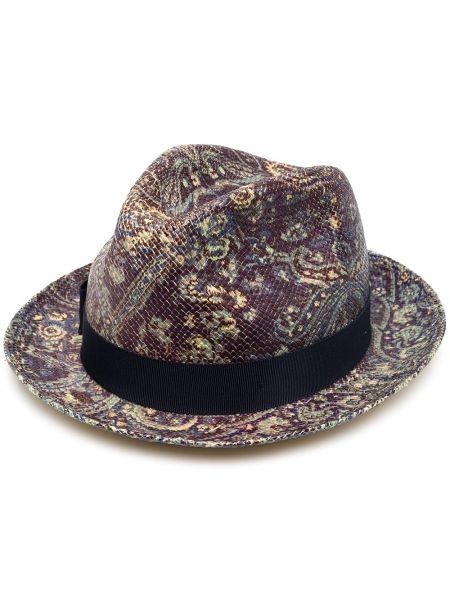 Фиолетовые соломенные шляпа-федора из вискозы Etro