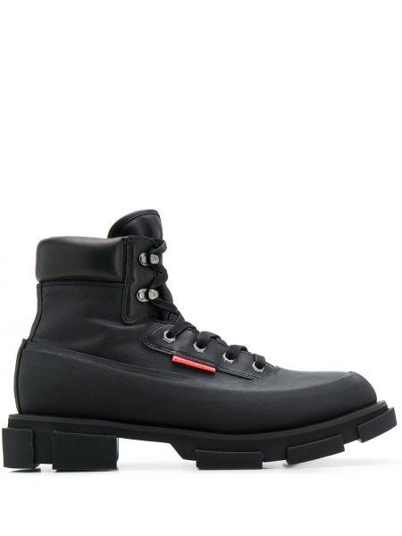 Кожаные ботинки на шнуровке черные Both