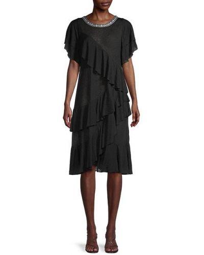 Черное платье с короткими рукавами с оборками Pitusa