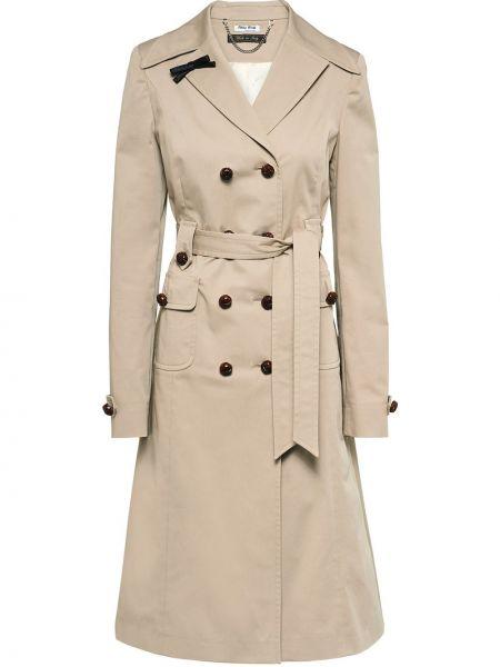 С рукавами прямое пальто с карманами из вискозы Miu Miu