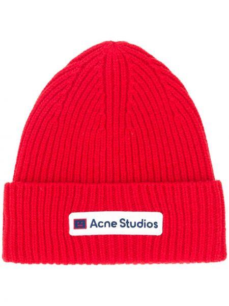 Wyposażone wełniany czapka zimowa z łatami Acne Studios