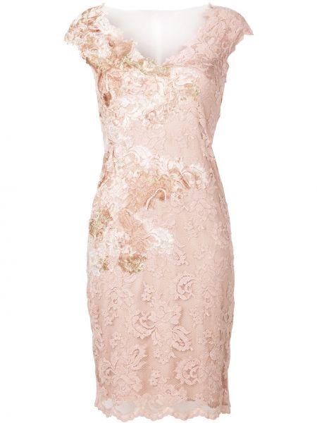 Розовое ажурное платье с V-образным вырезом на молнии Olvi´s