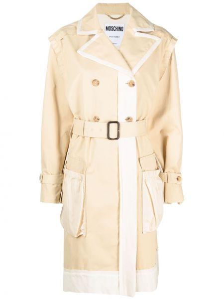 Белое длинное пальто двубортное с карманами Moschino