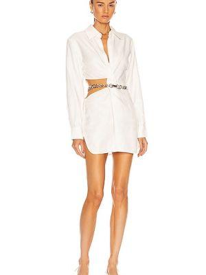 Biała sukienka zapinane na guziki Atoir