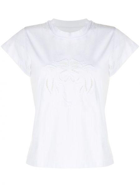 Белая футболка с вырезом с вышивкой Ermanno Scervino