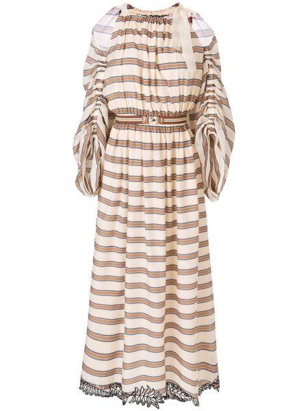 Шелковое коричневое расклешенное платье с нашивками Fendi