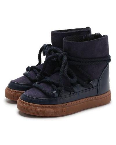 Синие кожаные сапоги на шнуровке с декоративной отделкой Inuikii
