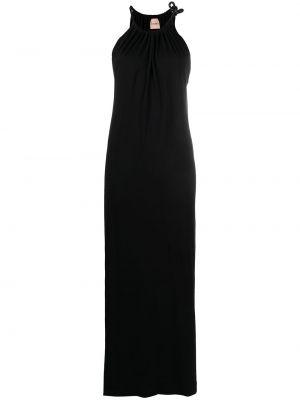 Черное платье макси без рукавов на бретелях Nude