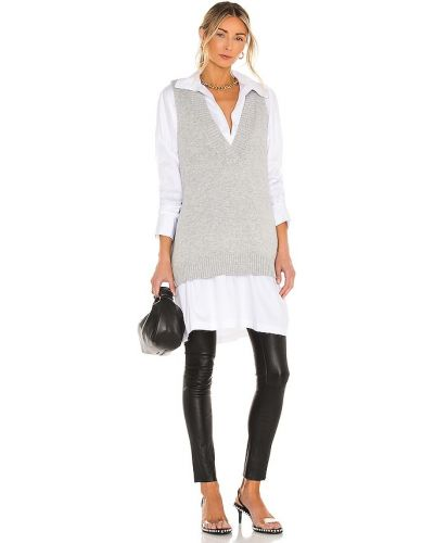 Шерстяная белая классическая жилетка винтажная Line & Dot