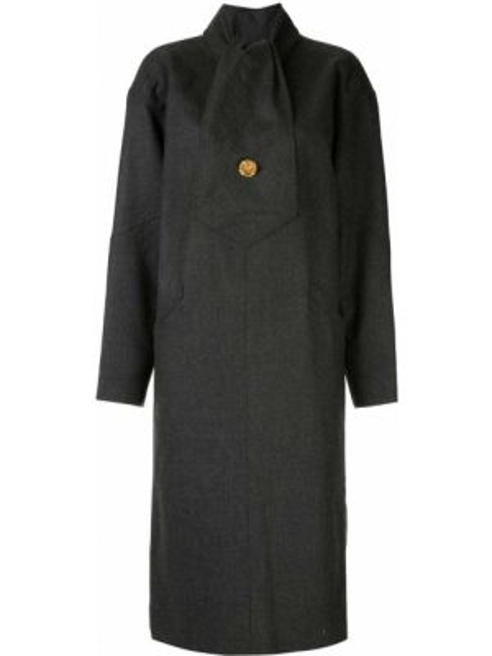 Шерстяное серое платье винтажное с длинными рукавами Chanel Pre-owned