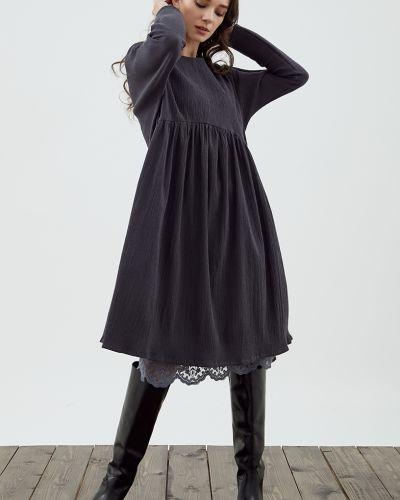 Хлопковое платье миди - серое черешня