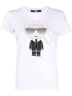 Прямая хлопковая белая футболка Karl Lagerfeld