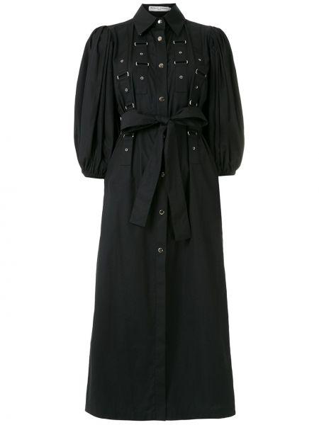 Свободное с рукавами черное платье миди Reinaldo Lourenço