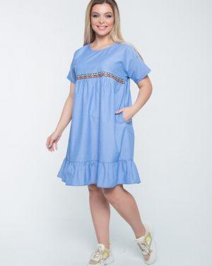 Джинсовое платье со складками платье-сарафан тм леди агата