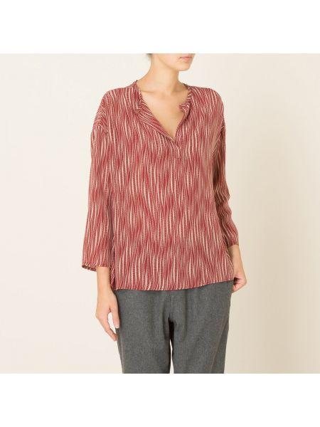 Шелковая красная прямая блузка с длинным рукавом с воротником Diega