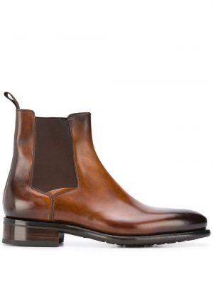 Массивные коричневые кожаные ботинки челси Santoni