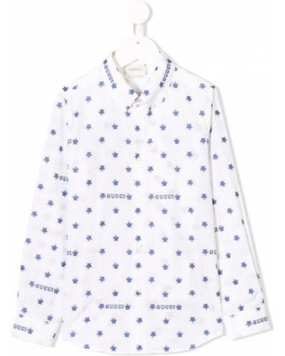 Рубашка с узором белая Gucci Kids