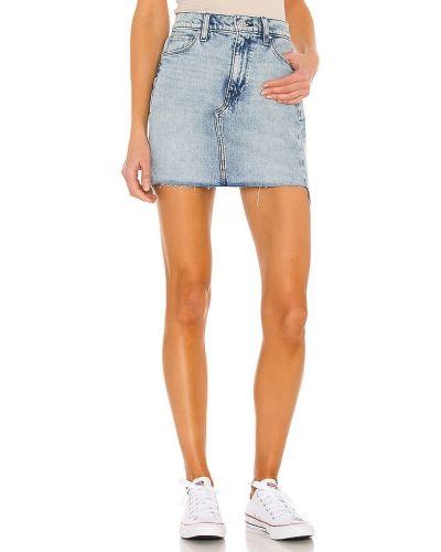 Хлопковая синяя джинсовая юбка с карманами Hudson Jeans