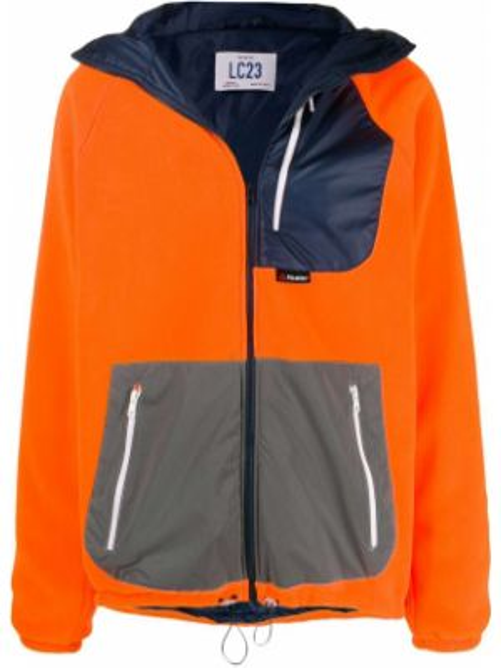 Pomarańczowa kurtka z kapturem z długimi rękawami Lc23