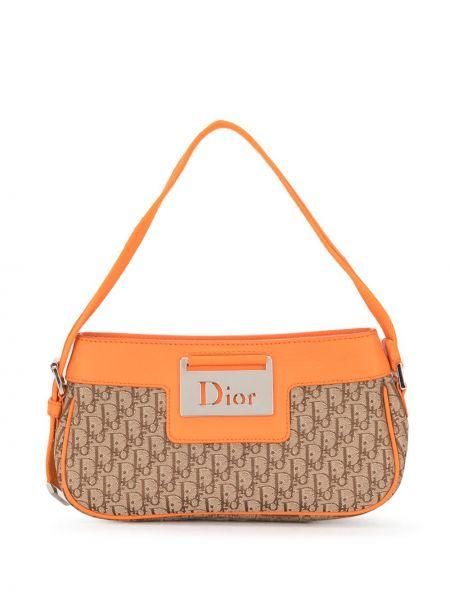 Brązowy skórzany torba kosmetyczna z kieszeniami z łatami Christian Dior